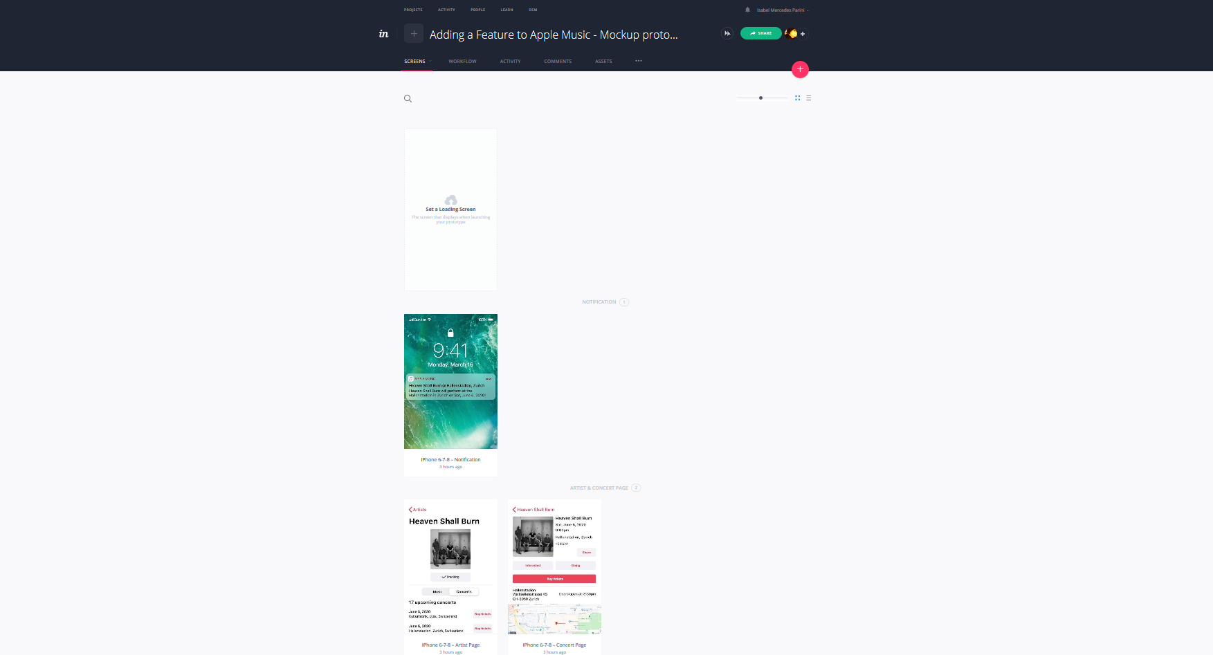 Adding-a-Feature-to-Apple-Music-Mockup-prototype-Screens-InVision