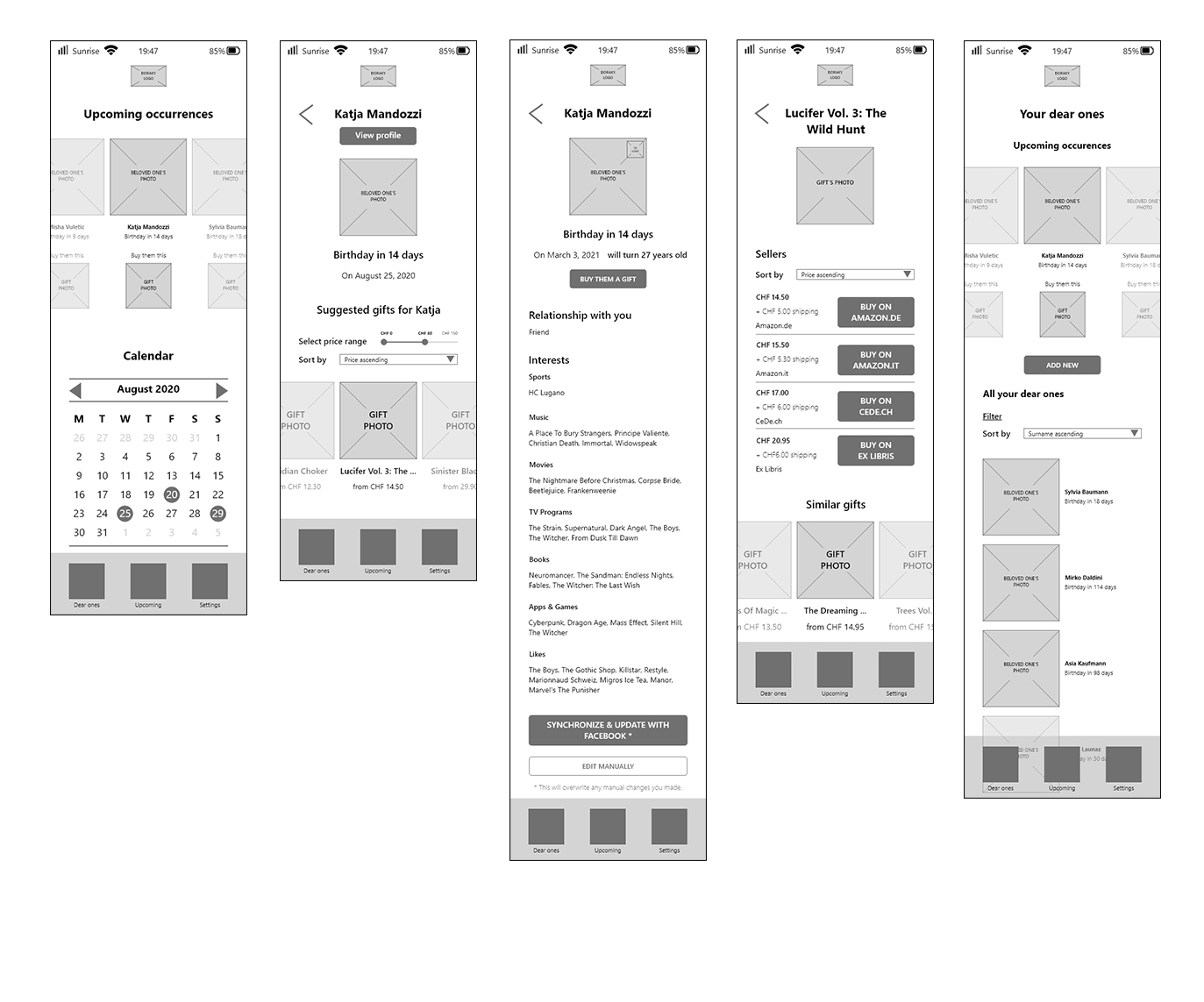 doraky-screens-wireframes
